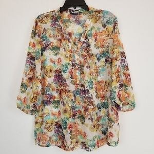 A.N.A a new approach floral chiffon popover top